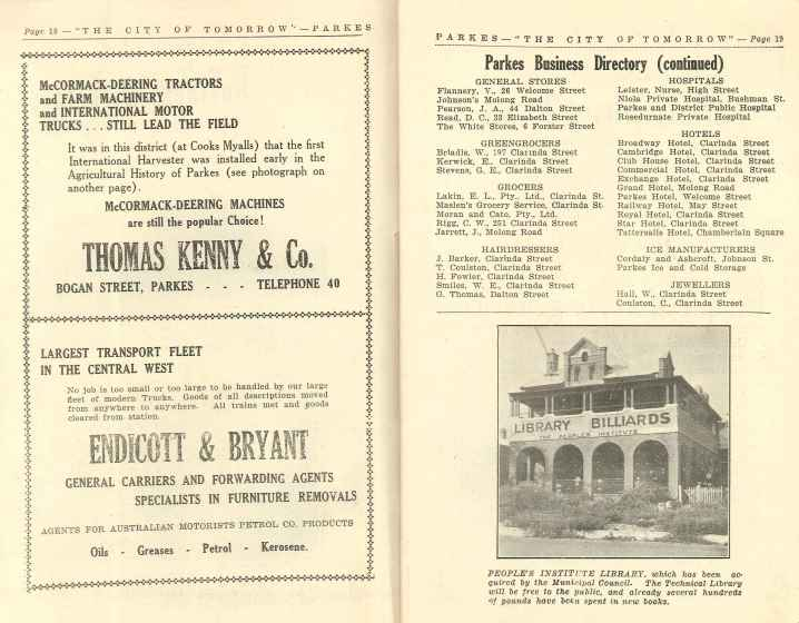 Rosedurnate Private Hospital listed in the promotional booklet The City of Tomorrow in the district of to-day [sic]. Published by Cyril A. Kelly and John Sweeney in April, 1946. Page 19. This booklet is available for browsing in Parkes Shire Library's Local and Family History room.