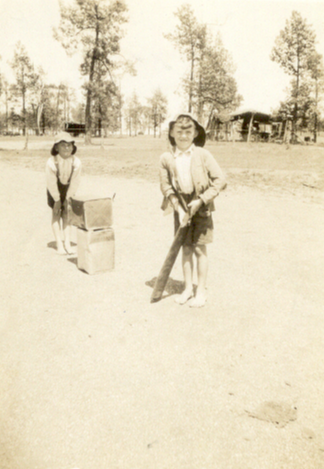 Bill and John Berryman playing cricket mid 30s. Source: Dianne Chiafalo personal photograph collection