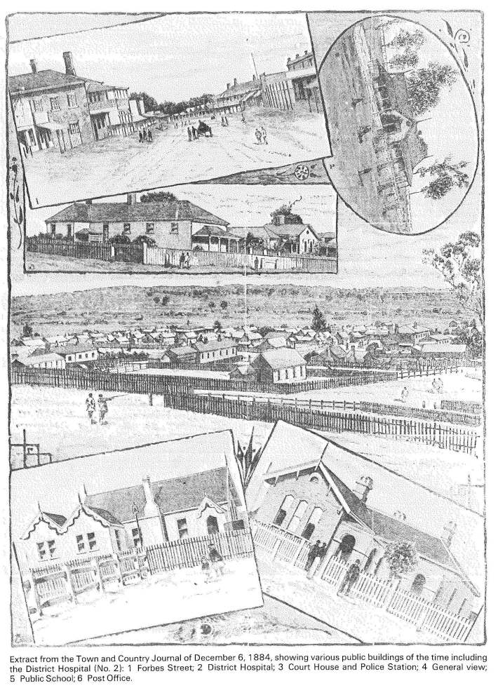 Earliest known photograph of Parkes Hospital (the oval shaped image on an angle). The image appeared in Town and Country Journal on December 6, 1884 p27. The original can be viewed here. Source of photograph and caption: Parkes: 100 Years of Local Government by Ron Tindall (editor) (1983) Griffin Press Limited: Netley, South Australia, page 164