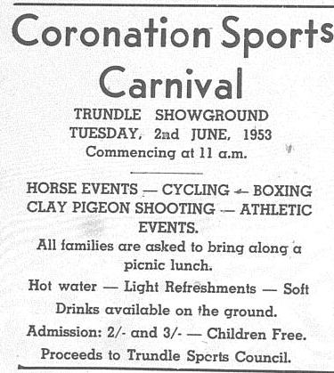 Advertisement for the Trundle Sports Council fundraiser Coronation Sports Carnival. Source: The Trundle Star Friday May 29, 1953