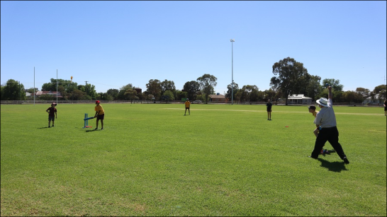 A gorgeous day for cricket at Berryman Oval. Students from Trundle Central School showcase their cricketing talents alongside Cr Ken Keith OAM (a keen cricketer too). Photograph by Katrina Dwyer (Parkes Shire Council) taken on February 21, 2019)