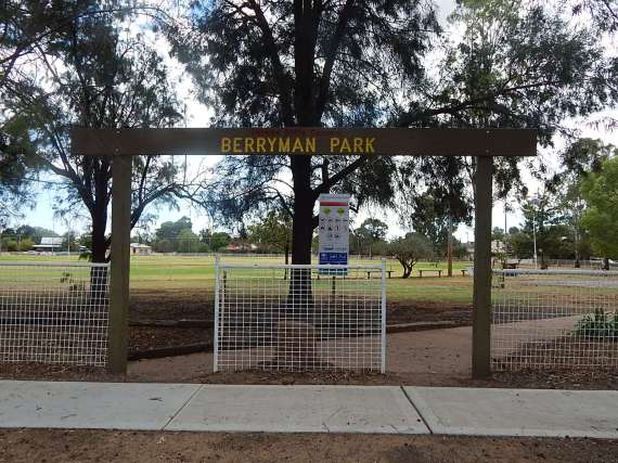 Sign for Berryman Park, Trundle. Photograph by Sandie Ward (Parkes Shire Library) taken on March 11, 2016