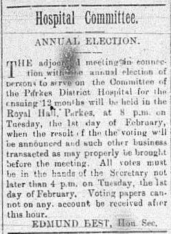 Newspaper advertisement regarding the Parkes Hospital Committee. Source: The Western Champion Friday January 28, 1898 page 12