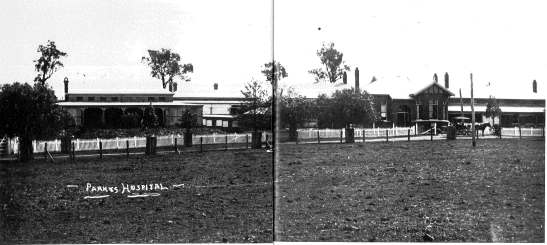 Parkes Hospital circa 1915 Source: Parkes: A Photographic History by Ian Chambers, 1988 Self-published: Parkes, NSW page 128-129