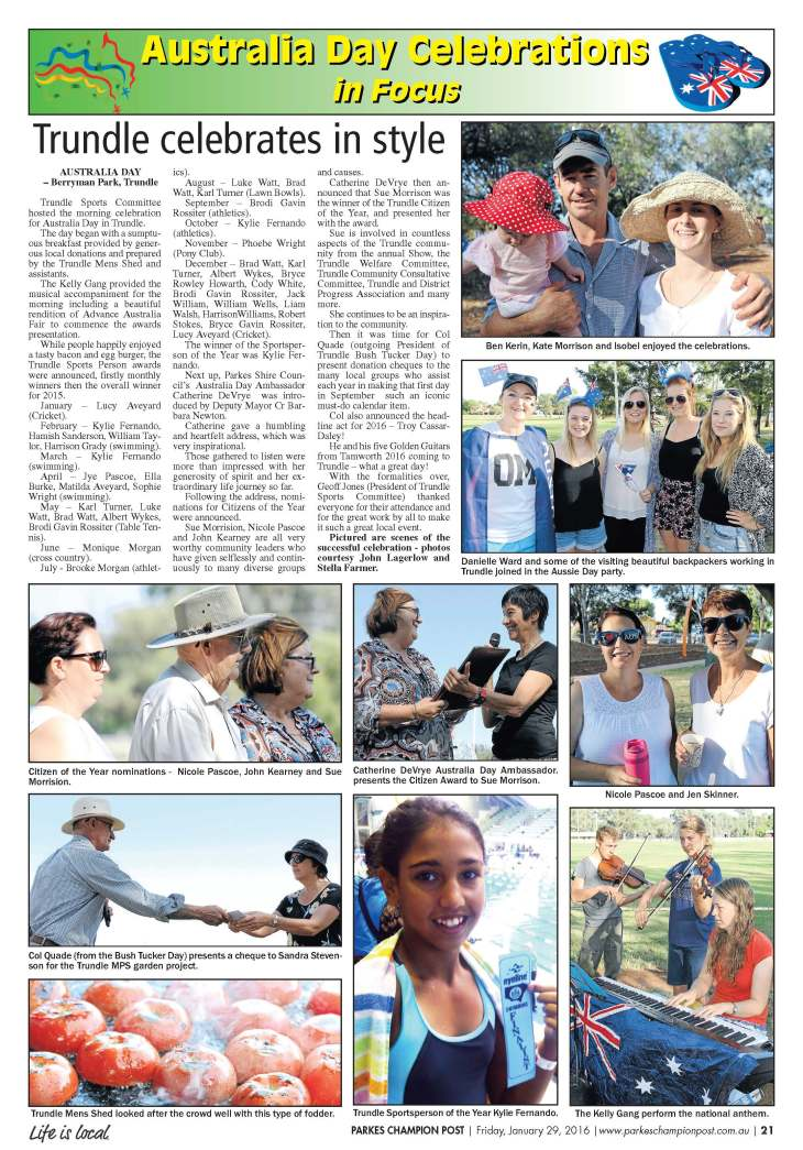Berryman Park is the venue for Trundle's Australia Day celebrations. Source: Parkes Champion Post Friday, January 29, 2016 page 21