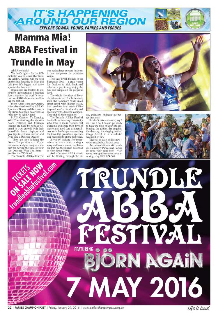 From 2016 Berryman Park will host Trundle's ABBA Festival - a highlight on the social calendar in the Parkes Shire! Source: Parkes Champion Post Friday, January 29, 2016 page 22