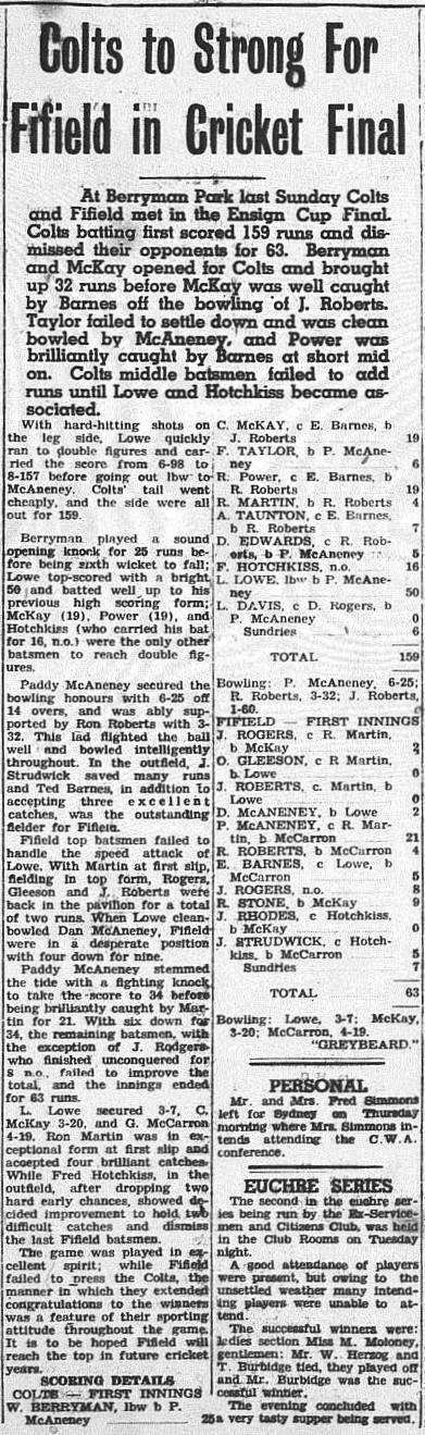 Trundle Colts win the Ensign Cup. Bill Berryman was one of the stars with the bat. Source: The Trundle Star Friday 9, 1954