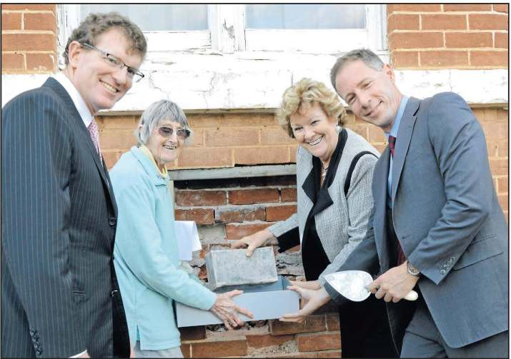 Photograph of the time capsule from Parkes Hospital being uncovered after 111 years. Present at this historic occasion are (from left to right) local state MP, Andrew Gee; President of Parkes Historical Society, Yvonne Hutton (granddaughter of the Hospital Chairman at the time, John Medlyn); Minister for Health, Jillian Skinner; and Scott McLachlan (Chief Executive Officer of the Western NSW Local Health District). Source: Parkes Champion Post Monday August 24, 2015 page 1