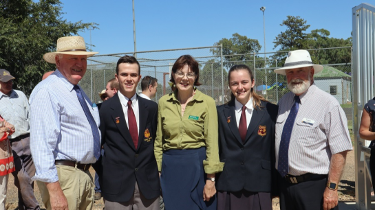 Trundle Central School's 2019 Captains - reslpendent in their uniform - accompanying the honoured guests at the opening of Berryman Oval's upgrades are (left to right): Hon. Rick Colless MLC, Harrison Williams (TCS School Captain), Kate Hazelton (Nationals Candidate for Orange), Monique Morgan (TCS School Captain), and Cr Ken Keith OAM. Photograph taken by Katrina Dwyer (Parkes Shire Council) on February 21, 2019.