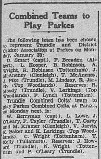 Bill Berryman was captain of the Trundle Combined Colts cricket team. Source: The Trundle Star Friday, January 27, 1950