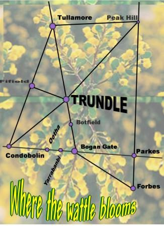 Map of Trundle, highlighting its location compared to other places in the Central West of NSW. Source: MyTrundle website
