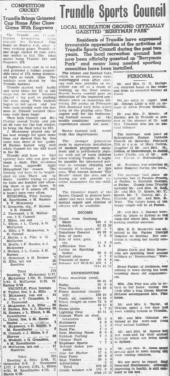 Trundle Sports Council announces that recreation ground will be called Berryman Park. Also Trundle Cricket Club wins the Grinsted Cup. Source: The Trundle Star Friday March 5, 1954