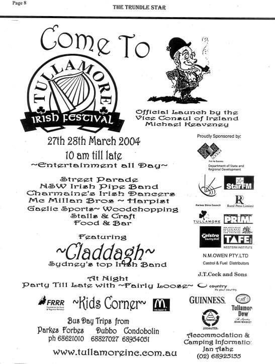 Advertisement for the inaugural Tullamore Irish Festival. Source: The Trundle Star 17th March 2004 page 8