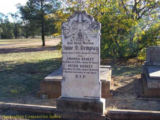 Headstone inscription for the influential Kerley brothers. Originally from Tullamore, Ireland, they settled in Tullamore, New South Wales after learning farming in Kathungra in Victoria. They are buried in Trundle Cemetery. Source: Australian Cemeteries Index website