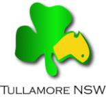 Tullamore NSW logo incorporating a shamrock leaf with a yellow map of Australia on one petal. A green dot shows an approximate location of Tullamore on the Australian map. Source: Tullamore website www.tullamore.org.au