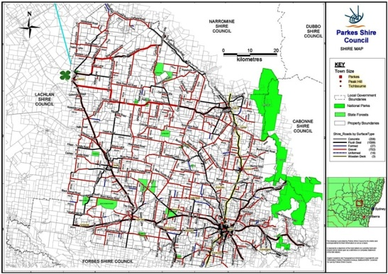 A map of the Parkes Shire detailing the location of Tullamore in relation to the Shire. The green shamrock shows where Tullamore is located Source: Parkes Shire Council