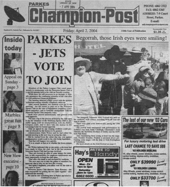 The inaugual Tullamore Irish Festival was front page news on the Parkes Champion Post too. Source: Parkes Champion Post Friday April 2, 2004