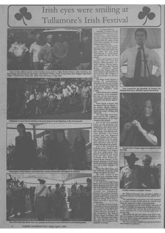 Special feature on the inaugural Tullamore Irish Festival. Source: Parkes Champion Post Friday April 2, 2004 page 4