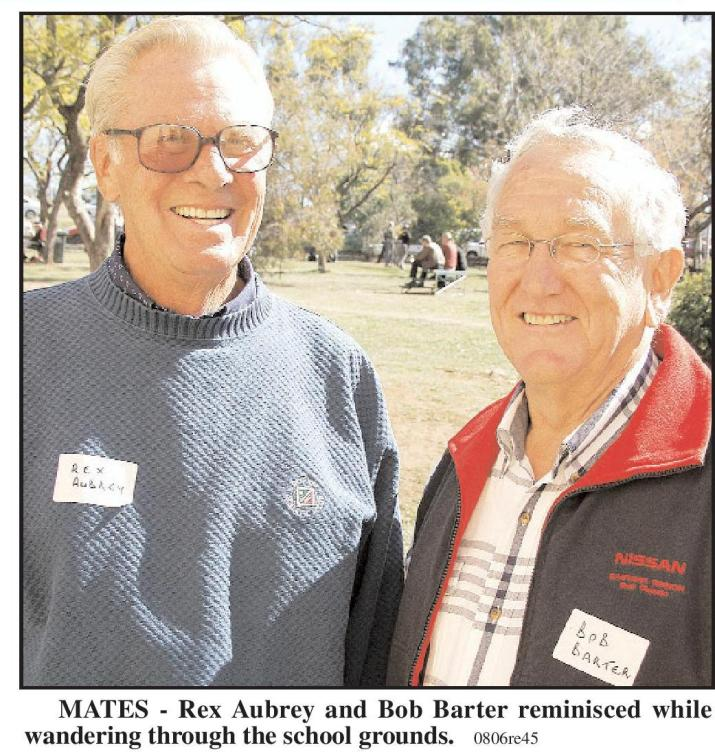 Parkes Shire's first Olympian remains down-to-earth, returning from the US to attend the Parkes High School 75th Reunion in 2006. Named Parkes High Achiever in 2004, Rex is catching up with former classmate Bob Barter. Source: Parkes Champion Post Wednesday August 23, 2016