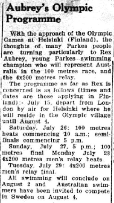 Again on the front pages of the local newspaper, many Shire residents were interested in following the Olympics due to a local competing for the first time. Source: Parkes Champion Post July 14, 1952