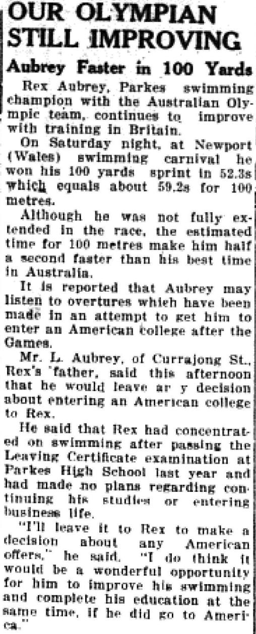 After Helsinki, Aubrey received offers from numerous American colleges. He decided on Yale University, where his swimming achievements continued. Source: Parkes Champion Post July 7 1952