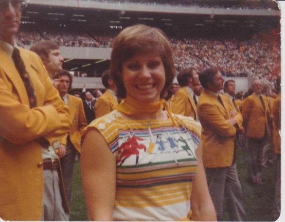 Nira at the opening ceremony of the 1976 Montreal Olympic Games, dressed in Australian team uniform. Photograph courtesy of Nira and Graham Windeatt