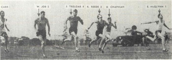 "Edward ""Ted"" McGlynn winning the 100 yards at the State championships on December 20, 1952. McGlynn was competing against experienced Olympians Trleloar and Carr, plus other athletics champions such as Solomon, Reede, Chapman and Job. Source: Parkes: 100 Years of Local Government by Ron Tindall (editor) (1983) Griffin Press Limited: Netley, South Australia, page 303"