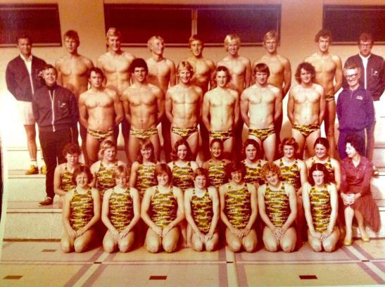 The Australian swimming team for 1976 Montreal Olympic Games. Nira is front row, third from left. Photograph courtesy of Nira and Graham Windeatt