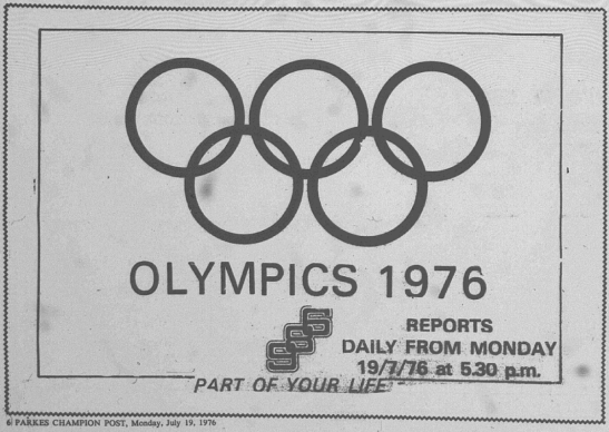 Advertisement for radio coverage of the Montreal Olympic Games. When Nira competed, in 1976, radio was the main source of news and information regarding the Olympic Games. Source: Parkes Champion Post Monday July 19. 1976 page 6