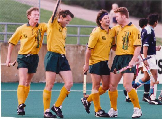 Celebrating another Stephen Davies goal for the Kookaburras. Undated photograph courtesy of John and Brenda Davies.