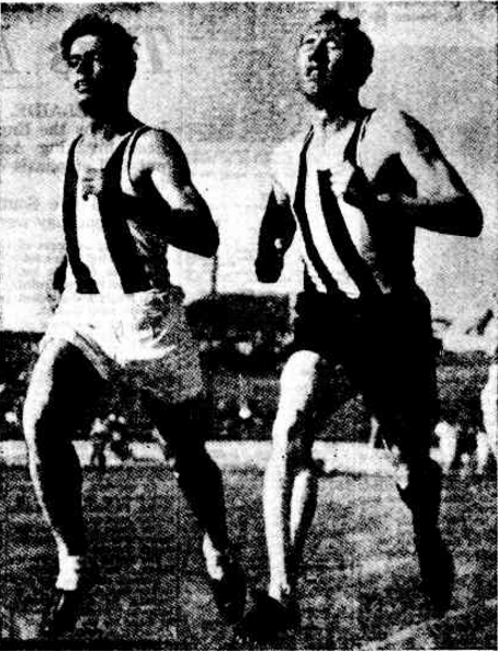 Parkes Shire's Jim Bailey, running for St George Athletics Club, defeats John Plummer - then the State half-mile champion - in the 880 yards at Henson Park on Saturday October 28th 1950. Source: The Sunday Herald Sunday 29 October 1950, page 12