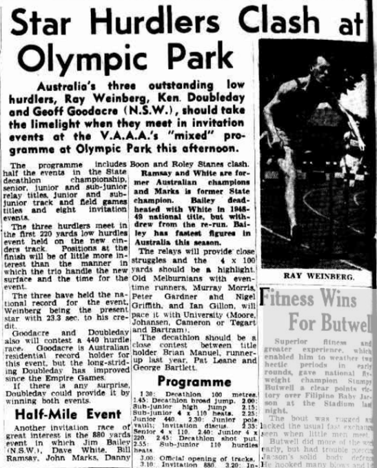 Jim Bailey was invited to race in the 880 yards of the Victorian Amateur Athletics Association's special athletics meet. The depth of half-mile runners in Australia is highlighted and Bailey at the time had the fastest figures in Australia. Source: The Age Saturday 27 January 1951, page 20
