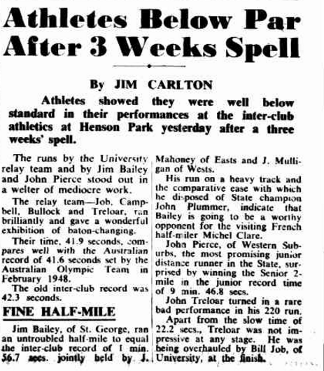 Another inter-club athletics meeting at Henson Park, another victory for Jim Bailey. Source: The Sunday Herald Sunday 14 January 1951, page 12