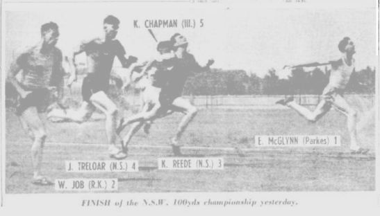Another angle of NSW 100 yards championship held in Sydney on January 3 1953. This was the first time that former Olympian, John Treloar, did not finish in the top two. Source: The Sunday Herald 4 January 1953, page 7