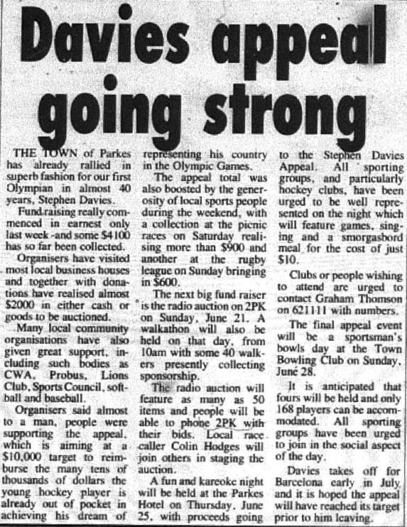 The community spirit of the Parkes Shire again was demonstrated when news of Stephen Davies' selection to the Kookaburras for 1992 Barcelona Olympics. Source: Parkes Champion Post Friday June 12, 1992