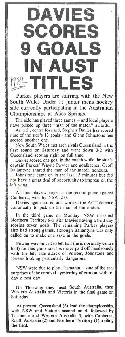 Another newspaper clipping highlighting Stephen's goal-scoring touch! Again Parkes players dominate the headlines with Glenn Johnstone, Wayne Powter and Geoff Ballantyne accompanying Davies in receiving accolades. Photograph courtesy of John and Brenda Davies
