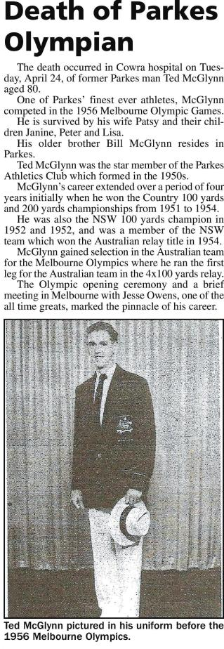"Tribute to one of Parkes Shire's finest athletes, Edward ""Ted"" McGlynn. Source: Parkes Champion Post Wednesday May 2 2012, page 5"