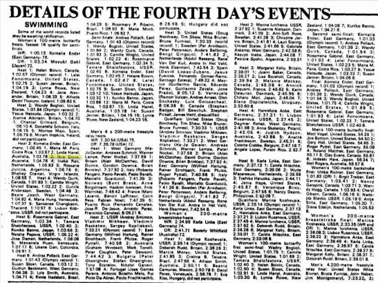 Details of the fourth day's events for 1976 Montreal Olympic Games, with Nira Stove highlighted. Source: The Canberra Times Friday 23 July 1976 page 16