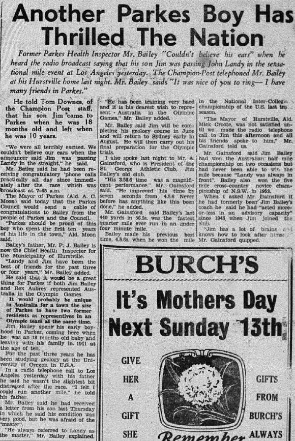 """Jim Bailey's victory over John Landy makes the front page of the local paper. The Champion Post rang Bailey's dad to discuss his son's achievement. The article highlights the mutual friendship between Landy and Bailey. However national media would portray Bailey as the threat to """"golden boy"""" Landy and this resulted in the mood of the Australian public turning against Bailey. Source: The Champion Post Monday May 8, 1956, page 1"""