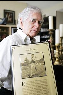 Jim Bailey, given a plaque on the 50th anniversary of his achievement - first sub 4 minute mile run on US soil - living in Bellingham, Washington. Source: The Seattle Times Sunday April 30, 2006