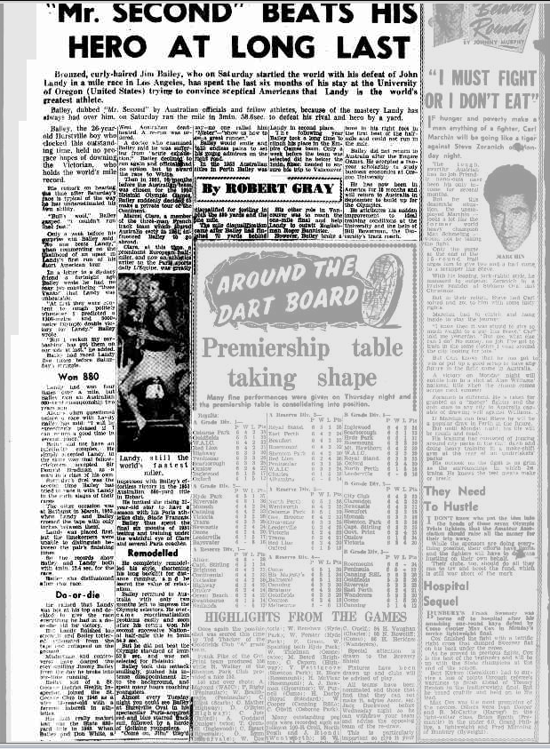 Another report on Bailey defeating Landy, with a less than flattering nickname for Jim Bailey. Such was the depth of Australian athletics at this time, with Ron Clarke to follow in Bailey and Landy's footsteps. Source: The Perth Mirror Saturday 12 May 1956, page 14