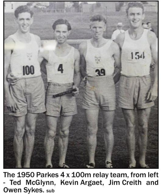 Parkes Athletics Club's surprise success in 4 x 100 yards relay team. From left: Ted McGlynn, Kevin Argaet, Jim Creith and Owen Sykes. Source: Parkes Champion Post Wednesday October 21, 2015 page 19