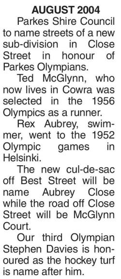 Parkes Shire Council honouring some of the Olympians who at one stage of their sporting careers called Parkes Shire home. Source: Parkes Champion Post Monday December 22, 2014, page 15