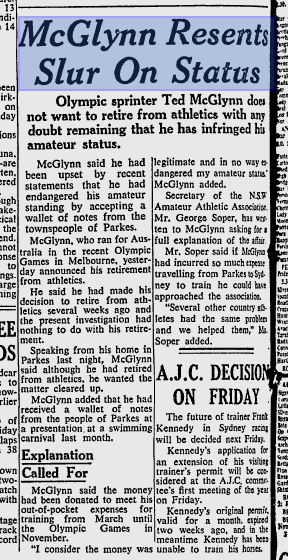 Article reporting the controversy created from a well-intentioned gesture by the locals who wanted to show their appreciation for the achievements and sacrifices that Ted McGlynn had made to reach the 1956 Olympic Games. Source: The Sydney Morning Herald January 14, 1957 page 12