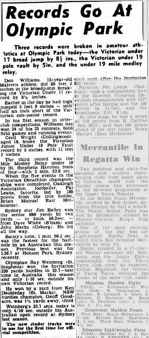 Jim Bailey wins again! The first athletics meet at the new Olympic Park, built for the 1956 Olympic Games, saw Bailey defeat an impressive field in the 880 yards. Source: Sporting Globe Saturday 27 January 1951, page 10