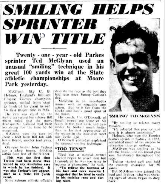 Feature report of Parkes Shire's smiling sprinter. Source: The Sunday Herald 4 January 1953 page 7