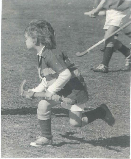 Stephen's love of hockey began at an early age. This photo of Stephen aged four years old, shows the old wooden stick that he first played with. Photo courtesy of John and Brenda Davies