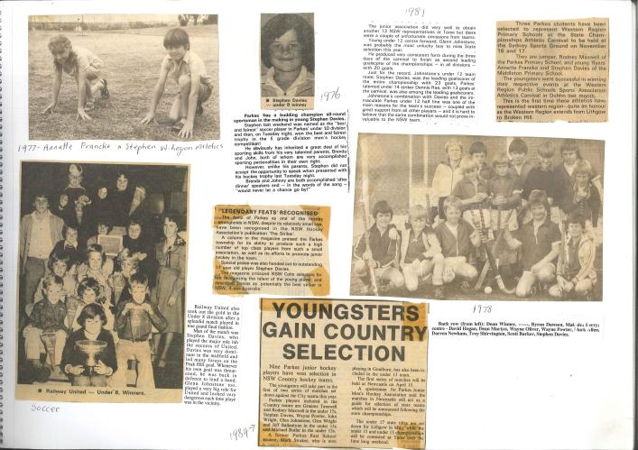 The scrapbook of sporting prowess! Newspaper clippings collected and collated by Stephen's parents that highlight his passion and skill in a range of sports including hockey, soccer and athletics. Another highlight is the fact that during Stephen's time in Parkes, the local association produced a lot of talented players. Photographs courtesy of John and Brenda Davies