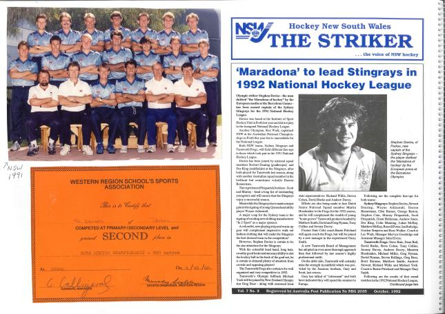 Another page from the scrapbook of Stephen's sporting success collected and collated by his parents. 1991 NSW hockey team, as well as front page on The Striker - the newspaper of Hockey New South Wales. Also included is another certificate for athletics. Photographs courtesy of John and Brenda Davies