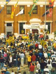 Stephen received a street parade and civic reception in September 19, 1992. These photos demonstrate the strong support for the first Olympian from Parkes Shire in nearly 40 years. Photos courtesy of John and Brenda Davies